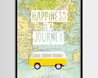 Happiness is a journey print, Travel quote, World map, Adventure quote, Digital art, Printable art, Digital poster Instant Download 8x10