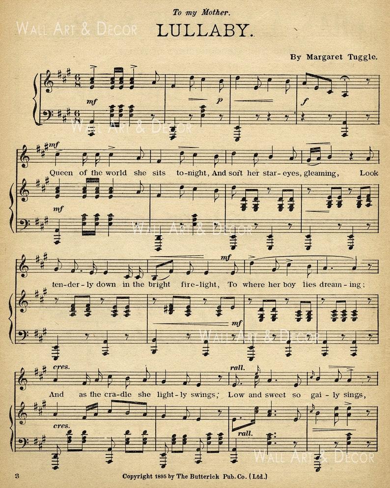 Wiegenlied Noten Für Klavier Notenpapier Drucken Alten Etsy