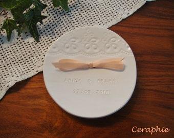 "Personalized wedding ring dish, personalised white ring Bowl ""Prague"" made of ceramics"