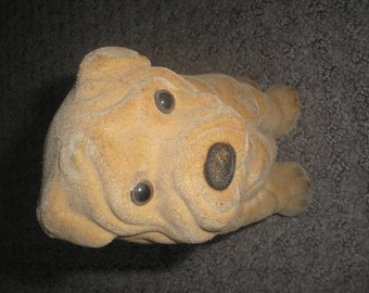 Vintage Flocked Shar Pei dog bank