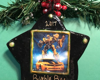 personalized christmas ornament bumble bee ornament transformers salt dough ornament