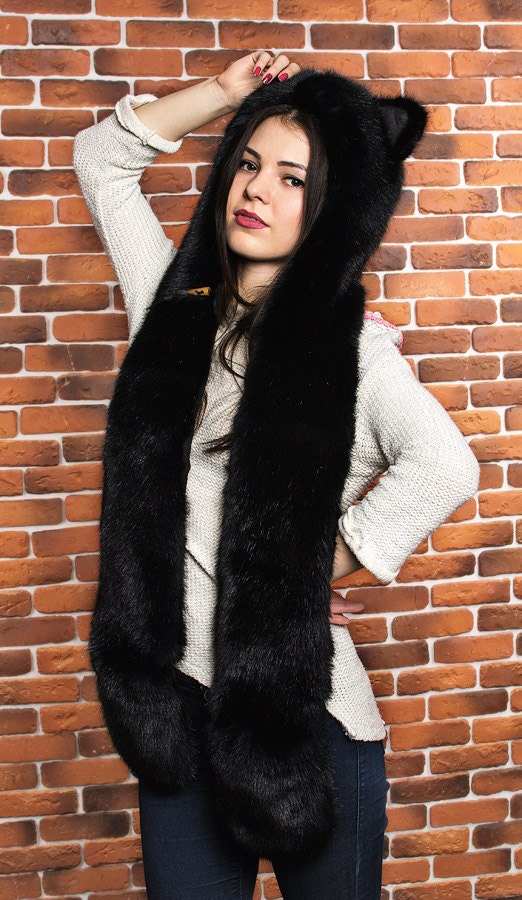 Chapeau meilleure animal original de panthère de la meilleure Chapeau qualité de l'Ukraine (pattes de loup Faux Sweat à capuche Spirithood esprit capuche écharpe mitaines) 54a8a3