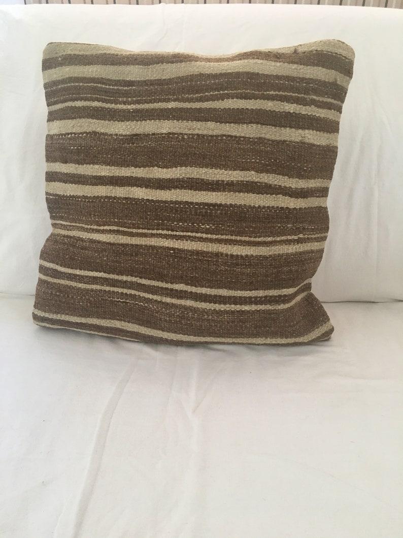 Beige Brown Geometric Scatter Pillow Slip Boho Patio Sofa Patterned Kilim 40x40 Vintage Sofa Cushion Cover