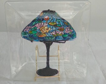 Tiffany water-lily lamp painted on a glass plate