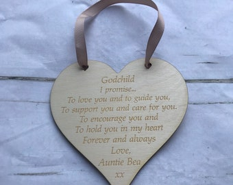 Godchild christening gift. Baptism keepsake gift. Naming ceremony present from godparent. Personalised wooden godchild keepsake sign.