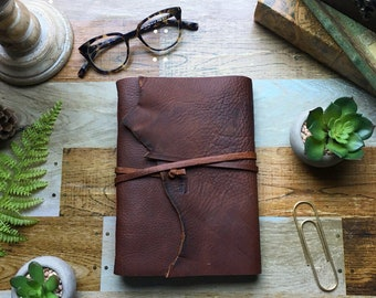 LEATHER BOUND JOURNAL - Hand Bound Leather Journal - Leather Bound Diary - Leather Notebook - Handmade Leather Journal