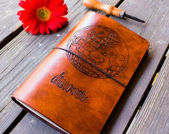 WIDE TRAVELERS NOTEBOOK - Globetrotter Large Moleskine Embossed Leather Fauxdori - Midori Style Travelers Notebook - Embossed Leather