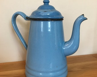 Blue Enamel Water Pitcher Tea Kettle