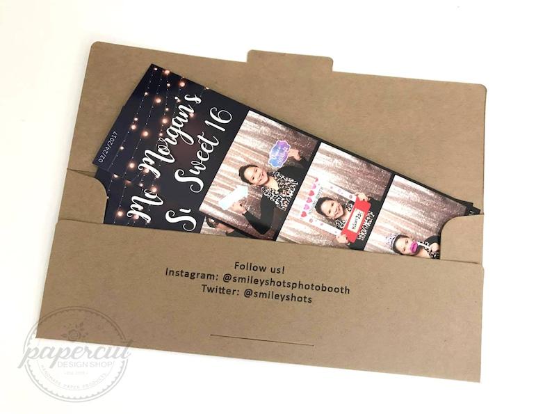 Photo Booth Envelope 2x6 Photo Strips Brown Kraft Cardstock Photo Booth Photo Holder Rustic Wedding Favor Ticket Envelope SALE!!