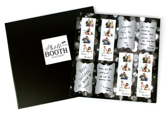 photo booth album scrapbook guestbook set of black leatherette etsy