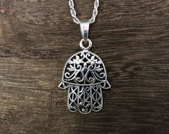 Hand of god necklace etsy hamsa hand pendant hand of god pendant gods helping hand charm 925 sterling silver hand cast spiritual jewelry aloadofball Image collections