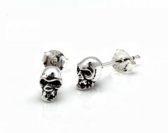 32f9c3db1 Small Skull Stud Earrings - 925 Sterling Silver - Hand Cast - Sterling Skull  Earrings - Silver Skull Studs -- Gothic Earrings
