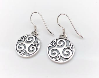 Hammered Hand Crafted SilverTextured Circular Drop Earrings Ancient but Modern Celtic Inspired