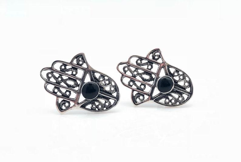 Hand of God 925 Sterling Silver Black Onyx Hamsa Earrings Hamsa Earrings Post Hams-a Earrings