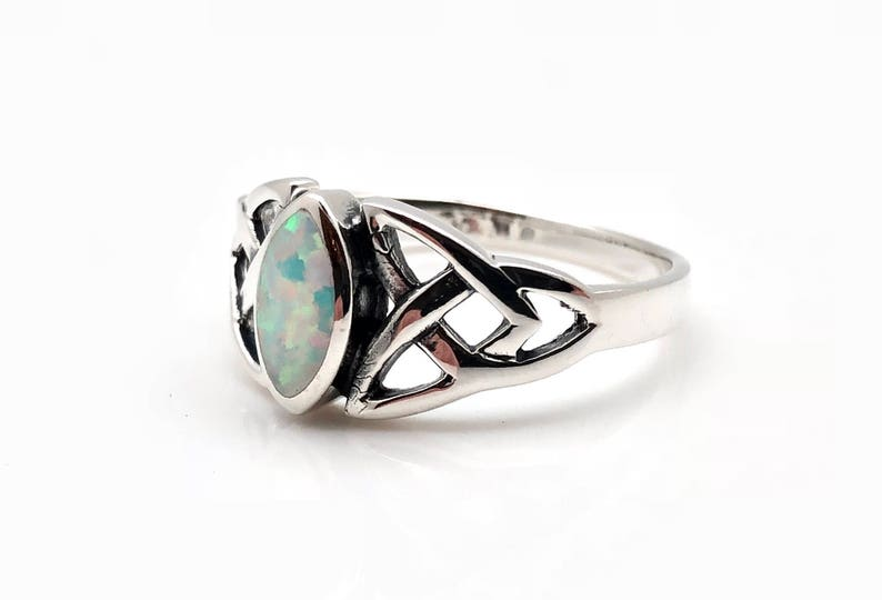 ca1baa7a93bb0 Opal Trinity Celtic Ring // 925 Sterling Silver // Hand Cast // Opal Celtic  Ring // Celtic Stone Ring // Celtic Jewellery