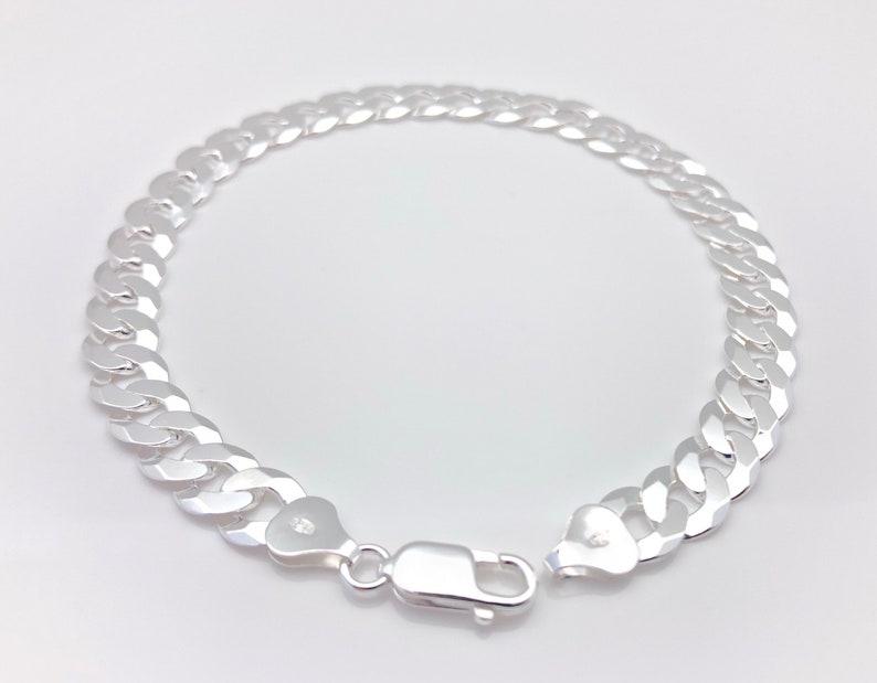 Silver Curb Bracelet  Super Flat Curb Bracelet  8mm Curb Bracelet  Sterling Silver