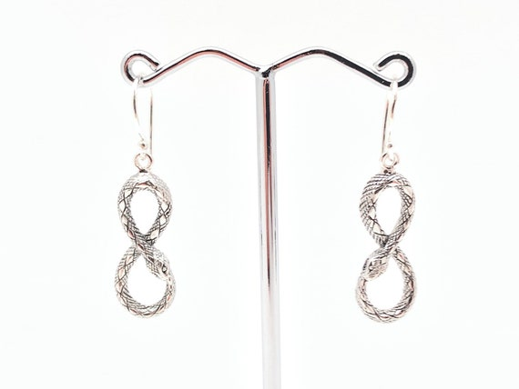 Sterling Silver Serpent Earrings Uoroborus Earrings Infinity Snake Earrings Snake Eight Earrings