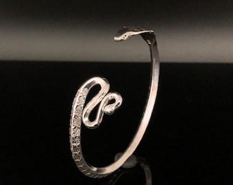 Cobra Cuff - Silver Cobra Cuff Bracelet - Serpent Cuff -- 925 Sterling Silver