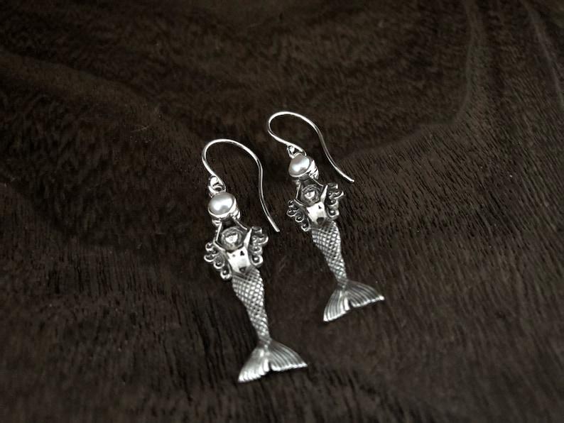 Sea life  Jewelry Mermaid Earrings Silver Mermaid Earrings Pearl Mermaid Earrings