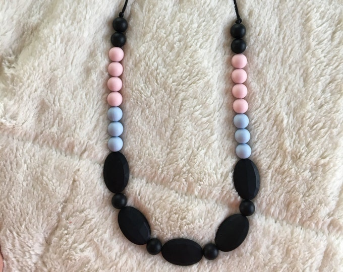 Color block multi bead necklace, teething necklace, silicone chewable beads, shower gift, nursing necklace, chew beads
