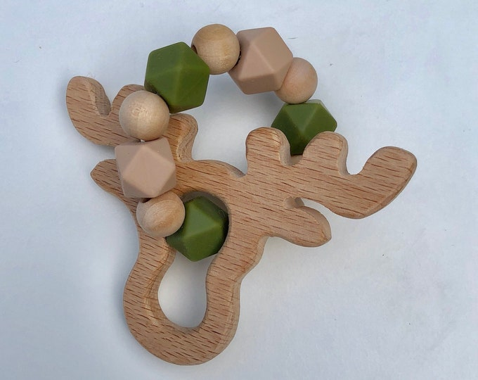 Moose teether-Silicone and natural wood teething toy for teething baby