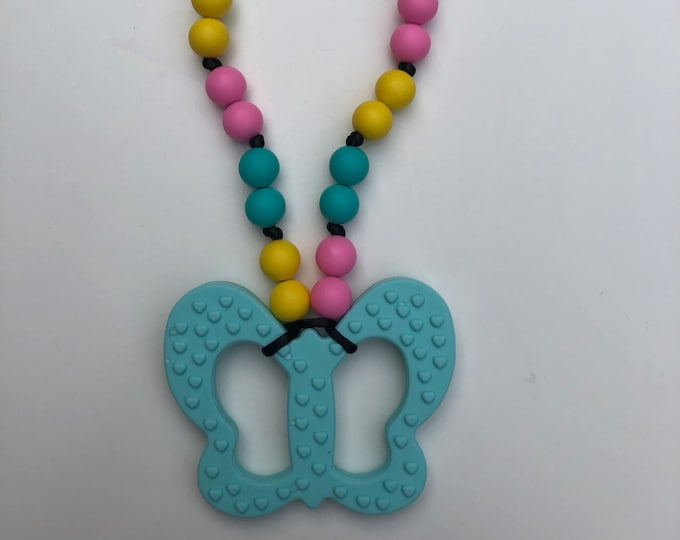 On The Go Butterfly teether- Light Blue