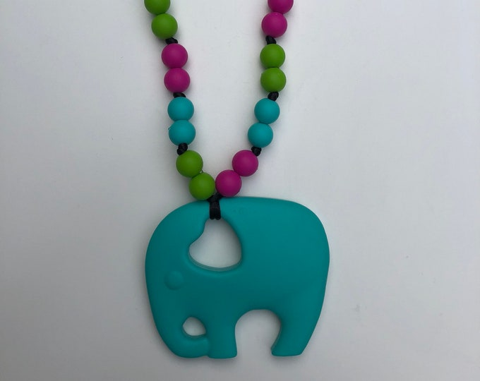 On The Go Elephant teether- Turquoise
