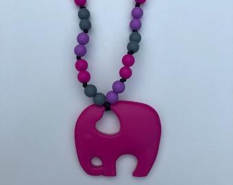On The Go Elephant Teether- Fuchsia