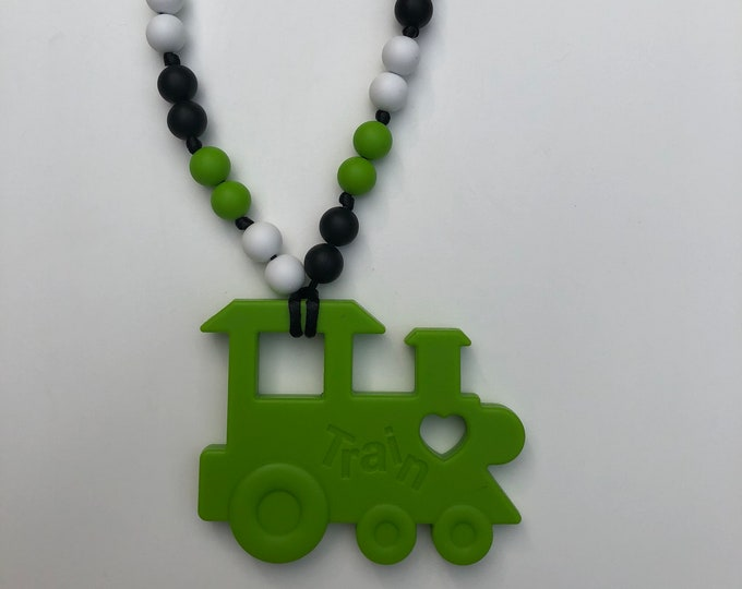 On The Go Train teether- Bright Green