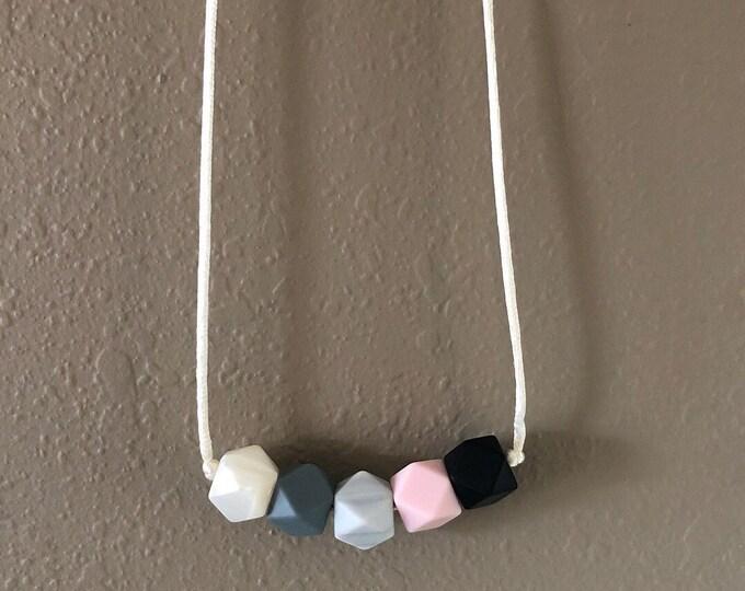 Hexagon bead multicolored teething necklace