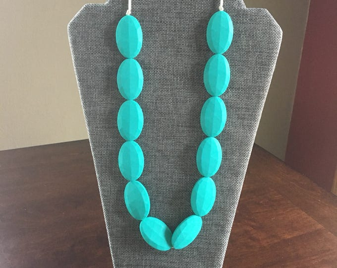 Turquoise oval bead teething necklace