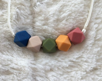 Hexagon bead multicolored teething necklace, silicone chewable beads, shower gift, nursing necklace, chew beads