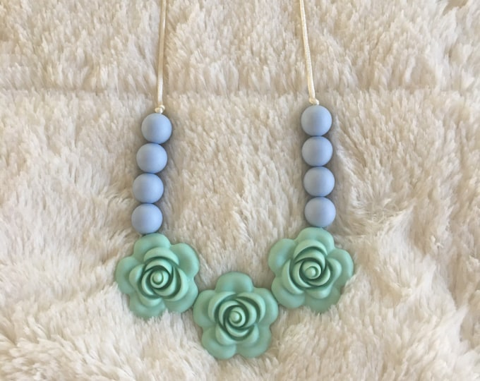Mint and periwinkle colorblock flower teething necklace, silicone chewable beads, shower gift, nursing necklace, chew beads