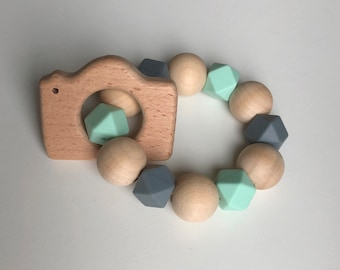 Camera teether-Silicone and natural wood teething toy for teething baby