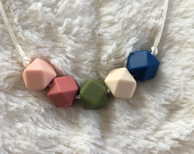 Hexagon bead multicolored teething necklace