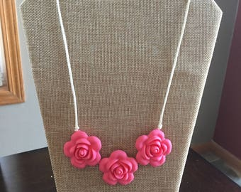 Coral Pink flower bead teething necklace