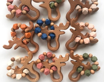 Moose rattle teether-Silicone and natural wood teething toy for teething baby.