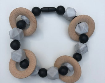 Rattle teether-Silicone and wood teething toy for teething baby- Carrier or carseat accessory