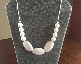 White mixed bead teething necklace, silicone chewable beads, shower gift, nursing necklace, chew beads