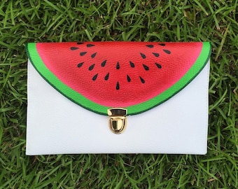 Watermelon Clutch Bag // Hand Painted Fruit Clutch // Custom Watermelon Purse // Watermelon Crossbody Bag