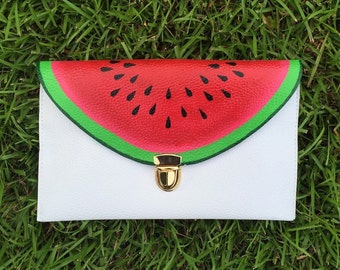 Watermelon Clutch: Hand Painted Fruit Clutch