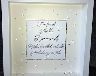 Bespoke Personalised 3D 'True Friends Are Like Diamonds' Sparkle Box Frame, Birthday, Christmas, Gift