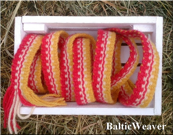 210 Cm 82 Inch Wool Hand Woven Inkle Loom Medieval Belt Etsy