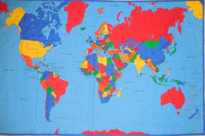 World Map Wall Hanging Panel - Cloth fabric Wall Hanging Panel with the Map  of the World – Today\'s World Wall Panel