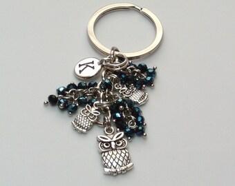 Owl Keychain Personalized, Owl Purse Charm, Owl keyring, personalized owl gift, owl lovers gift