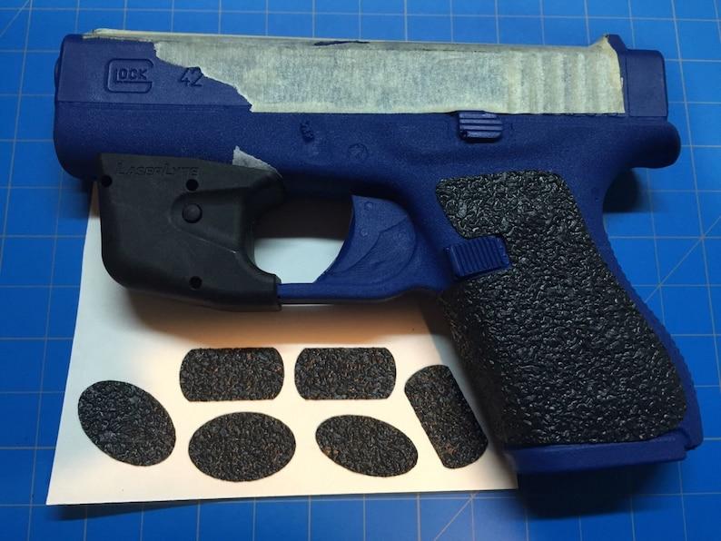 Glock 42  380 Rubber Gun Grips! Decal Better Grip Than Talon Grip! Perfect  for Carry