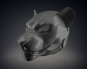 Grin Angry Lion Cosplay Mask   Full 3D Print Animal Furry mask   RAW 3D print Mask for DIY finish
