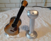 Vintage Salt and Pepper Shakers Guitar and Microphone- 5 and Dime