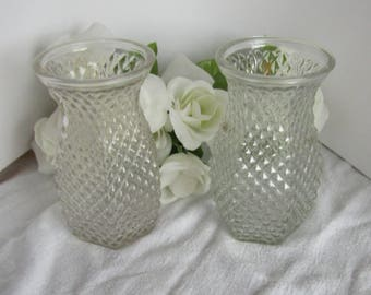 Hoosier Glass Diamon cut Vases set of two