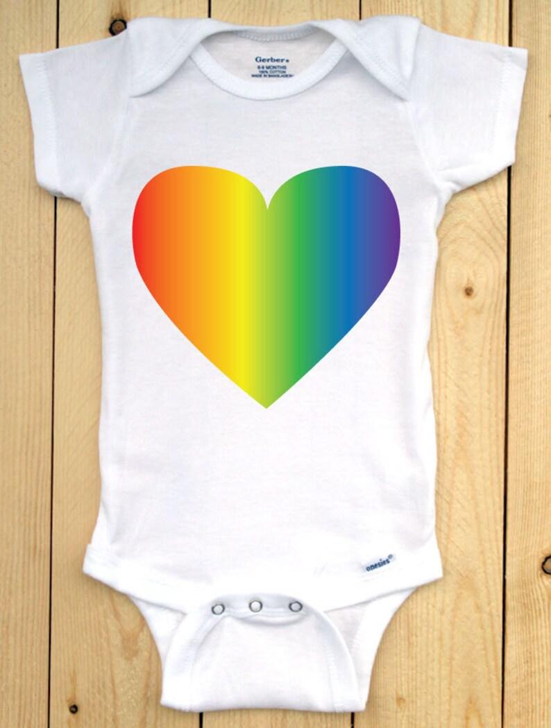 ea742abbcc41 Pride Baby Onesie  Rainbow Heart Baby Bodysuit  Heart with